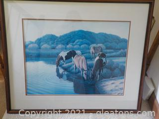 Museum Quality Framed Print 4 Horses in the Wilderness by Patrick L. Henry