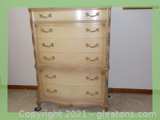 Lt. Ash Color, Solid Wood, French Provincial Chest of Drawers