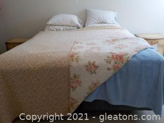 King Size Bed Frame, Mattress, Box Springs and Linens No Headboard