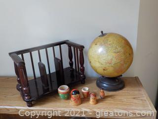 Vintage Wooden Book Holder, Nesting Dolls and a Globe