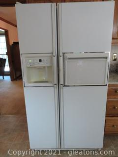 White GE Profile Refigerator/Freezer Side by Side with Dispenser