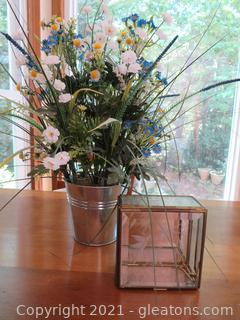 Cheerful Flowers in Metal Bucket and Etched Glass Box