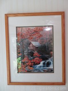 Glade Creek Grist Mill Framed Print and Lenox Nature's Reward White-Footed Mouse