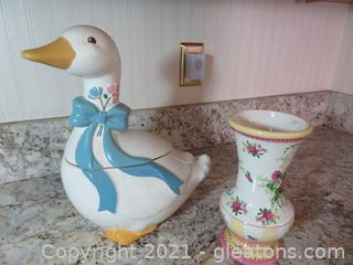 Charming Goose Cookie Jar and Pink and Yellow Vase