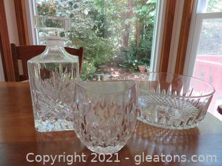 Elegant Glass Decanter, Vase, and Bowl