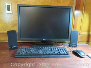 Dell Desktop Computer Keyboard Monitor, Speakers and Mouse