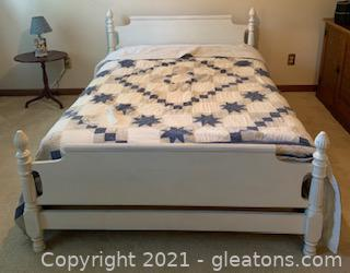 Sturdy White Wooden Full Size Bed with Mattress/Linens