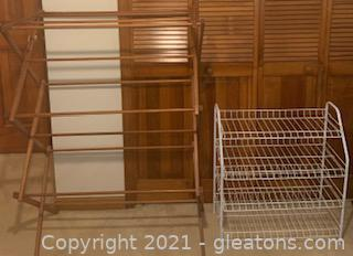 White Shoe Rack and Foldable Clothes Drying Rack