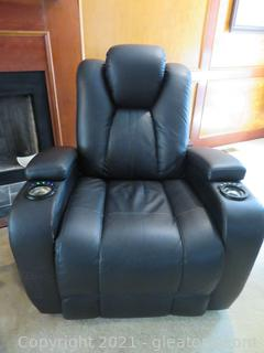 Black Leather Recliner with Two Cup Holders