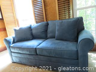 Lovely Blue Suede Rolled Arm Sleeper Sofa