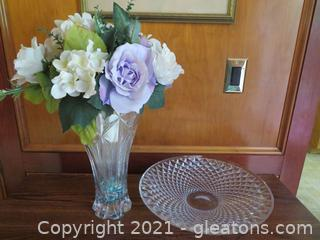 Glass Vase with Silk Flowers and Dead Crystal Centerpiece Bowl