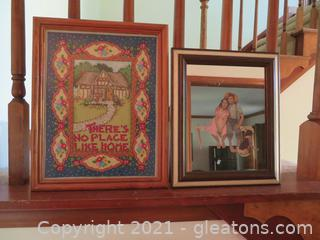 """Crosstitch """"There's No Place Like Home"""" and Norman Rockwell Mirror"""