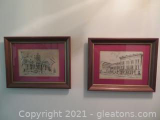 Lot of Two Charming Alabama Scenes, Framed