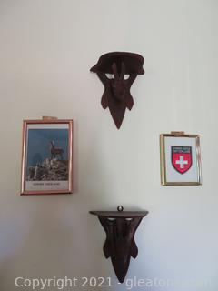 Two Animal Shelves and Two Pictures From Switzerland