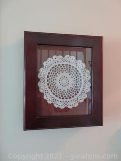 Framed Crochet Pieces and Three Loose Crochet Pieces