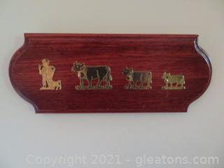 Cowherd and His Cows in Brass on Wood Plaque