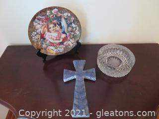 Blue Wall Cross Victorian Plate on Stand , and Lead Crystal Bowl