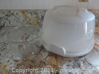 Wilton Cake Carrier and Sunbeam Fire King Bowl