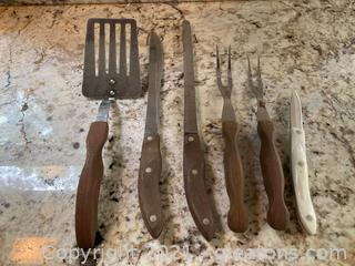 6 Piece Wooden Handle Cutco Set: Spatula , Paring Knife , Carving Knife, Spreader ,  2 Meat Forks