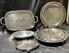 Silver Plate Serving Trays (3), Leaf Design Dish, Fruit Embossed Tray W/Handles- 5 Items