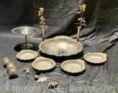Silver Plated 5 Piece Shell Serving Set, Footed Candy Dish, 3 Long Stem Silver-Plated Roses, 2 Silver Plated Rosebud Vases