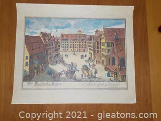Stunningly Beautiful Pen and Ink Print Set in Early 1716 Nuremberg
