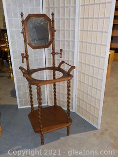 Vintage Wooden Wash Stand With Mirror