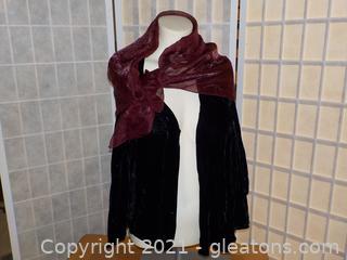"Elegant Ladies Black Velvet Jacket with Italian ""Art of the Scarf"" Poly-Nylon Scarf"