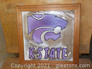 Hanging Leaded Glass Style Art of K-State Wildcats