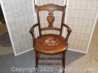 Walnut Victorian Side Chair with Needle Point Seat, Circa 1900