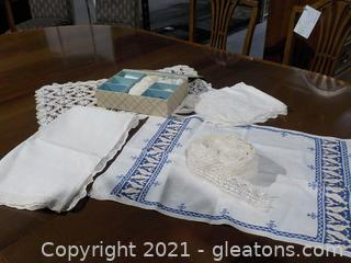 Vintage Lace, Table Covers and Doilies (6 Pieces)