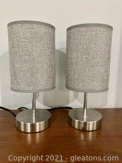 """2 Mod Dainty 11"""" Tall Accent Lamps"""