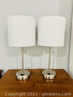 2 Mod Candlestick Table Lamps
