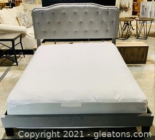 Gray Tufted Queen Bed Box Frame and Mattress