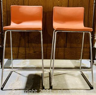 2 Modern Bernhardt Industrial Bar Stools
