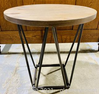 Round, Wood Grain, Glitter Sheen Side Table