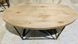 Oval, Wood Grain, Glitter Sheen Coffee Table