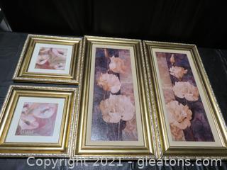 Four Charming Flower Paintings- Framed