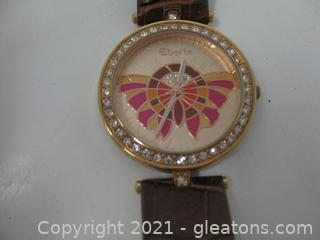 Ladies Eberle Crystal Studded Watch with Leather Band