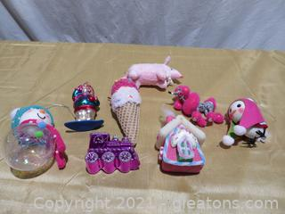 Lot of 8 Pink Christmas Ornaments