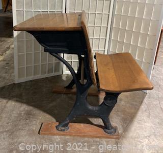 Vintage Oak and Cast Iron School Desk