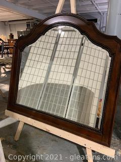 Heavy Solid Mahogany Beveled Wall/Dresser Mirror
