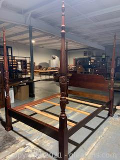 Beautiful Carved Cherry Queen Bed Frame