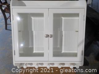 White Enameled Wall Cabinet with Glass Doors
