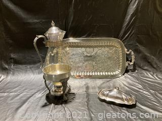 Silver Kettle with Warmer on Footed Stand, Butter Dish W/Lid, Footed Rectangular Serving Tray 8 Items