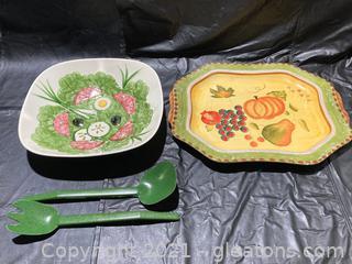 "Beautiful Hand Painted ""Los Angeles Pottery"" Salad Bowl and Salad Tongs W/Beautiful Platter"
