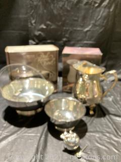 """Int'l Silver Company 2 Qt Silver Plated Pitcher W/Ice Guard, Paul Revere Gorham Silver Plate Bowl (9""""), 6"""" Silver Plate bowl, W.M. Rogers S.P. Apple"""