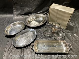 Elegant Service Set: Relish Caddy W/Glass and S.P. Trim, 3 oval dishes, 1 rectangular dish with handles