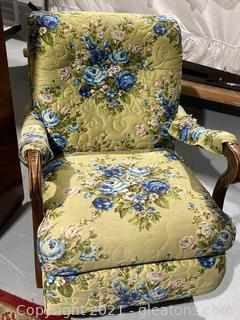 Bright Floral Design Rocking Chair W/Carved Accents , Quilted Pattern Look