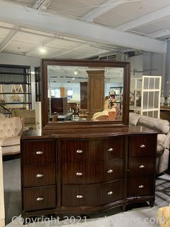 Dark Cherry Serpentine Front Dresser with Attached Mirror